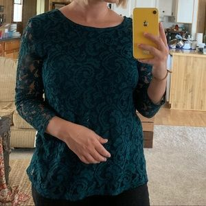 Teal lace 3/4 sleeve